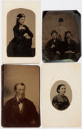 Photography:Tintypes, [Nineteenth-Century Photography]. Four Small Tintypes. Measuringabout 2.5 x 3.5 to 4 inches. Some surface wear, including a...
