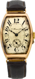 Timepieces:Wristwatch, Moser & Co. Vintage Gold Wristwatch, circa 1915. ...