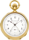 Timepieces:Pocket (pre 1900) , Tiffany & Co. Movement Attributed to Louis Audemars Rare &Important Minute Repeating Tandem Wind Pocket Watch WithRattrapant...