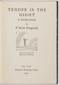 Books:Literature 1900-up, F. Scott Fitzgerald. Tender is the Night. New York:Scribner's, 1934. First edition. Publisher's cloth with ligh...