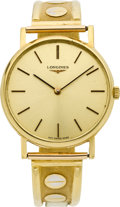 Timepieces:Wristwatch, Longines Gent's 18k Gold Wristwatch, Gold Band. ...