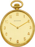 Timepieces:Pocket (post 1900), Movado 18k Gold Oval Watch. ...
