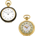 Timepieces:Pocket (pre 1900) , Two Waltham 14k O Size Watches, Fancy Dial, Black Enamel. ...(Total: 2 Items)
