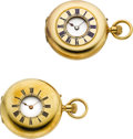 Timepieces:Wristwatch, Henry Capt & Swiss, Two 18k Gold Demi-Hunters. ... (Total: 2 Items)