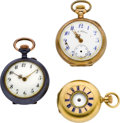Timepieces:Pocket (post 1900), Three Miniature's, Two Gold, One Gun Metal. ... (Total: 3 Items)