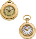 Timepieces:Pocket (post 1900), Two Swiss Gold Miniature Watches, 19 & 20 Millimeters. ...(Total: 2 Items)