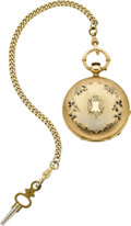 Timepieces:Pocket (pre 1900) , Jaques Roulet Gold & Enamel Key Wind. ...