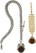 Timepieces:Watch Chains & Fobs, Large Sterling Chain & Gold Filled Fob Chain. ... (Total: 2Items)
