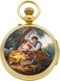 Timepieces:Pocket (pre 1900) , Swiss Repeater For Repair In Later Made Case With Enamel Scene. ...