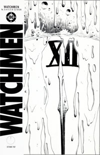 """Dave Gibbons Watchmen #12 """"A Clock at Midnight, Its Face Running with Blood"""" Cover Original Art (DC, 1987)"""