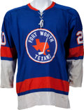 Hockey Collectibles:Uniforms, Mid 1970's Fort Worth Texans Game Worn Jersey - Most LikelyRecycled from New York Islanders Jersey....