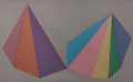 Prints:Contemporary, SOL LEWITT (American, 1928-2007). Two Asymmetrical Pyramids: oneplate (grey), 1986. Screenprint in colors. 38-1/8 x 62 ...
