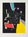 Fine Art - Work on Paper:Print, JOAN MIRÓ (Spanish, 1893-1983). Untitled, pl. 4 (from Libre delssis sentits), 1981. Color etching and aquatint in color...