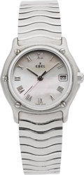 Timepieces:Wristwatch, Ebel Lady's Steel Wristwatch With Mother-of-Pearl Dial. ...