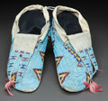 American Indian Art:Beadwork and Quillwork, A PAIR OF SIOUX BEADED HIDE MOCCASINS. c. 1890...