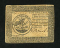 Colonial Notes:Continental Congress Issues, Continental Currency September 26, 1778 $5 Very Fine-ExtremelyFine....