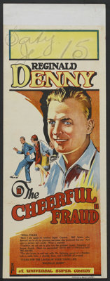 "The Cheerful Fraud (Universal, 1926). Pre-War Australian Daybill (15"" X 36.5""). Comedy"