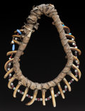 American Indian Art, A PRAIRIE GRIZZLY BEAR CLAW NECKLACE. c. 1835...