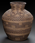 American Indian Art:Baskets, AN APACHE PICTORIAL COILED JAR. c. 1890...
