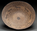 American Indian Art:Baskets, AN APACHE PICTORIAL COILED TRAY. c. 1890...