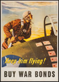 "Movie Posters:War, World War II Propaganda (U.S. Government Printing Office, 1943).Poster (28"" X 40"") ""Keep Him Flying!"" War.. ..."