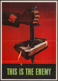 "Movie Posters:War, World War II Propaganda (U.S. Government Printing Office, 1943).OWI Poster No. 76 (20"" X 28"") ""This is the Enemy."" War.. ..."