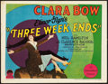 "Movie Posters:Comedy, Three Week Ends (Paramount, 1928). Title Lobby Card (11"" X 14"").. ..."