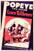 "Movie Posters:Animation, Learn Polikeness (Paramount, 1938). One Sheet (27.5"" X 41"").. ..."