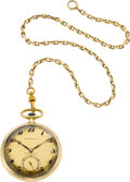 Timepieces:Pocket (post 1900), Tiffany & Co. Gold Pocket Watch, Chain & Original Box. ...