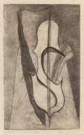 Texas:Early Texas Art - Drawings & Prints, FLORA BLANC REEDER (American, 1916-1995). The Persistency ofSound, 1945. Etching with drypoint. 6-1/4 x 3-3/4 inches (1...