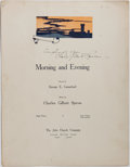 Books:Music & Sheet Music, Charles Gilbert Spross [Music by] and George E. Carmichael [Wordsby]. INSCRIBED. Morning and Evening. Cincinnat...