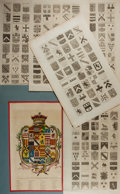 Antiques:Posters & Prints, [Heraldry]. Six Plates of Various Coats of Arms. Folio. Oneelaborately hand-colored and matted. Good or better....