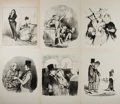 Miscellaneous:Broadside, [Victorian Era]. Six Printed Illustrations of Victorian Era EnglishFolk. All measure approximately 9.75 x 14 inches. Remove...