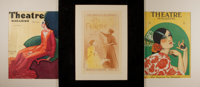 Three excellent color prints. Early 20th century illustration. Matted. Approximately 13 by 11 inches. Very good
