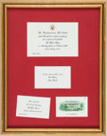 Political:Presidential Relics, COLONEL SANDERS' WHITE HOUSE INVITATION FROM PRESIDENT JIMMY CARTER. Supporting KFC's Recipe for Hope program and benefiting...