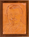 Miscellaneous:Ephemera, LEATHER PORTRAIT OF COLONEL SANDERS. Supporting KFC's Recipe for Hope program and benefiting Feeding America and World Food ...