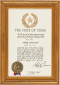 "Miscellaneous:Ephemera, ""HONORARY TEXAN"" AWARD PRESENTED TO COLONEL SANDERS BY GOVERNORDOLPH BRISCOE. Supporting KFC's Recipe for Hope program and ..."