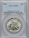 Walking Liberty Half Dollars: , 1939 50C MS65 PCGS. PCGS Population (1637/1342). NGC Census:(1118/1003). Mintage: 6,820,808. Numismedia Wsl. Price for pro...