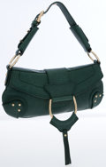 Luxury Accessories:Bags, Dolce & Gabbana Dark Green Leather Stirrup Shoulder Bag. ...