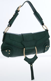 Dolce & Gabbana Dark Green Leather Stirrup Shoulder Bag