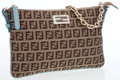 Luxury Accessories:Bags, Fendi Brown Monogram Canvas Crossbody Bag with Blue Detail. ...