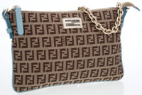 Fendi Brown Monogram Canvas Crossbody Bag with Blue Detail