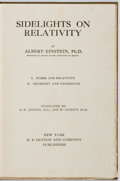 Books:Science & Technology, Albert Einstein. Sidelights on Relativity. Dutton, [n. d., ca. 1921]. First American edition, first printing. Publis...