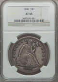 Seated Dollars: , 1846 $1 XF45 NGC. NGC Census: (66/304). PCGS Population (105/311).Mintage: 110,600. Numismedia Wsl. Price for problem free...