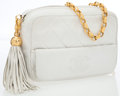 Luxury Accessories:Bags, Chanel White Quilted Lambskin Leather Camera Bag with TasselDetail. ...