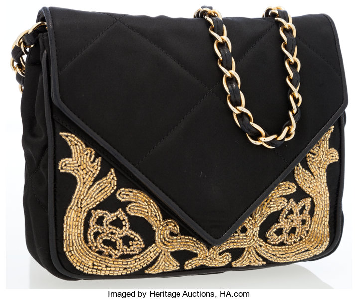 86421f34b2fa Chanel Vintage Black Satin Beaded Envelope Flap Bag. ... Luxury ...