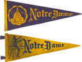 Football Collectibles:Others, Circa 1930's Notre Dame Football Pennants Lot of 2....
