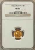 Commemorative Gold: , 1903 G$1 Louisiana Purchase/Jefferson MS62 NGC. NGC Census:(184/1816). PCGS Population (226/2836). Mintage: 17,500. Numism...