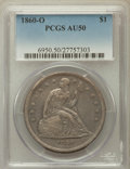 Seated Dollars: , 1860-O $1 AU50 PCGS. PCGS Population (69/907). NGC Census:(28/633). Mintage: 515,000. Numismedia Wsl. Price for problem fr...