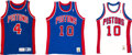 Basketball Collectibles:Uniforms, 1980's and 90's Joe Dumars and Dennis Rodman (2) Authentic JerseysLot of 3....